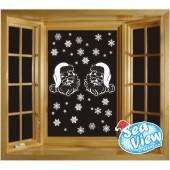 60 Snowflakes & Santas Window Stickers Reusable Christmas Static Cling