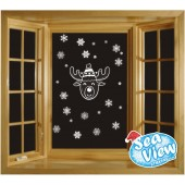 45 Snowflake & Reindeer Window Reusable Christmas Decorations Static Cling