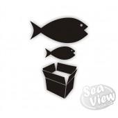 Big Fish Little Fish Cardboard Box sticker