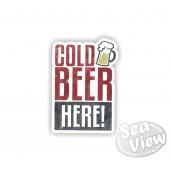 Retro Cold Beer Here Sticker
