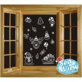 16 Large Reusable Christmas Selection Window Stickers
