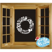 Christmas Wreath Window Sticker Reusable Static Cling