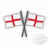England Double Flag Sticker
