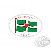 My Heart's In Devon Oval Sticker