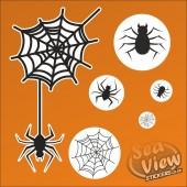 50 Halloween Spiders / Spiderwebs Reusable Static Cling