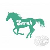 Custom Name/Slogan Single Horse Sticker