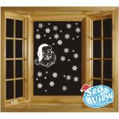 50 Snowflakes & Santa Window Stickers Reusable Christmas Static Cling