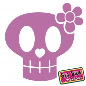 18 Skull & Flower Circle Stickers