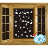 50 Snowflake & Santa's Sleigh Window Stickers Reusable Christmas Static Cling