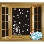 50 Snowflake & Snowman Window Reusable Christmas Decorations Static Cling