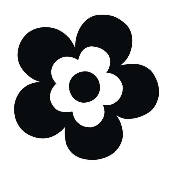 Black Flower Sticker